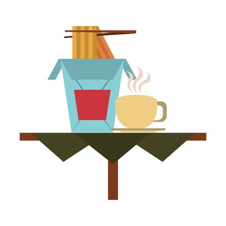 restaurant food and cuisine with chinese food and coffee cup over a table icon cartoons vector illustration graphic design Illusztráció