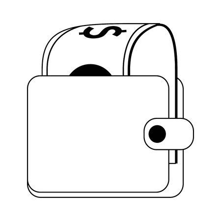 Wallet with cash money cartoon vector illustration graphic design 일러스트