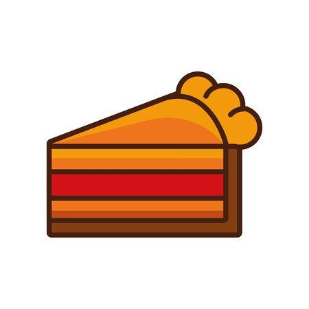 delicious sweet cake portion icon vector illustration design