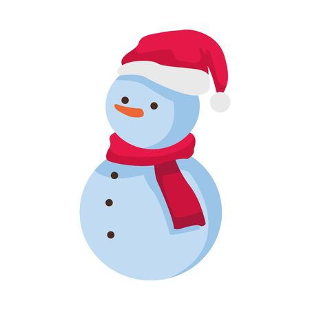 snowman with scarf and christmas hat over white background, colorful design. vector illustration