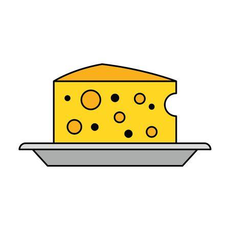 Cheese dairy on dish food vector illustration graphic design Illusztráció