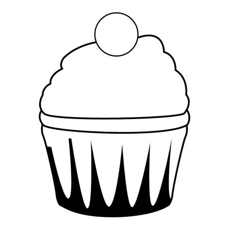 cup cake icon cartoon isolated in black and white vector illustration graphic design
