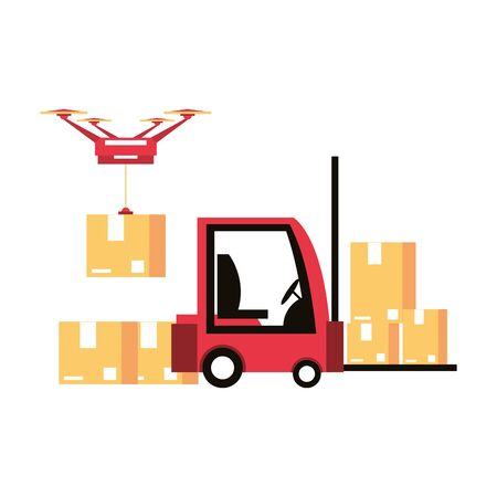 logistic and delivery shipping with drone and forklift technology transport cartoon vector illustration graphic design  イラスト・ベクター素材