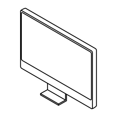 computer monitor hardware technology isolated vector illustration graphic design
