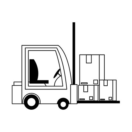 logistic and delivery shipping with forklift and merchandise cardboard boxes cartoon vector illustration graphic design