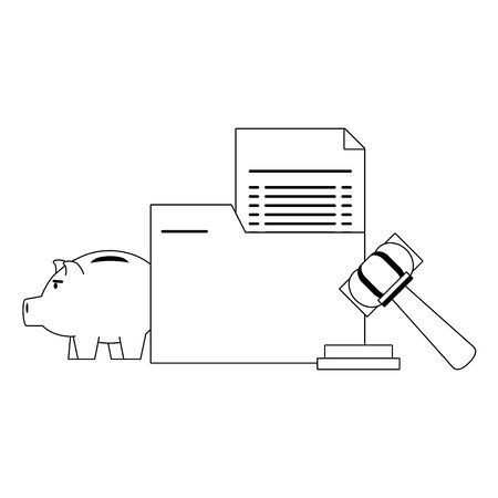 Money piggy and folder iwth document and gavel symbols in black and white vector illustration Иллюстрация