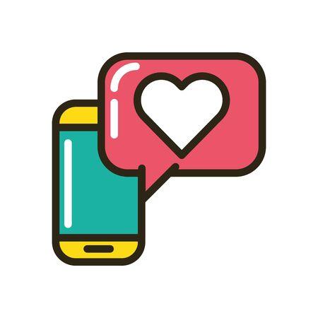 smartphone with speech bubble and heart vector illustration design Illusztráció