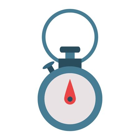 Chronometer timer clock with button isolated symbol vector illustration graphic design