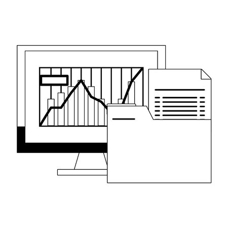 Online stock market investment computer and folder symbols in black and white vector illustration Ilustrace