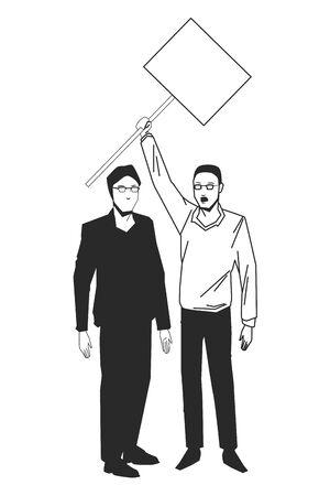 social activity public protest man protester with vector cartoon character black white vector illustrtion graphic design Ilustração