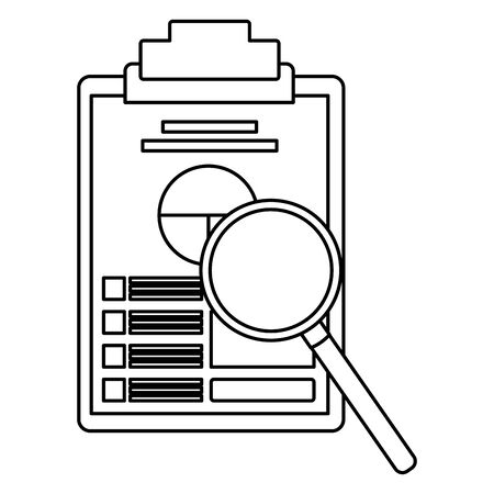 paper with data chart on table with magnifying glass icon cartoon in black and white vector illustration graphic design