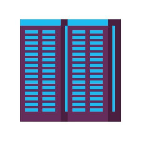 server towers network hardware technology cartoon vector illustration graphic design