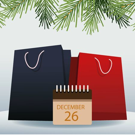 shopping bags with decorative pine branches and calendar with 26 december date over gray background, colorful design, vector illustration