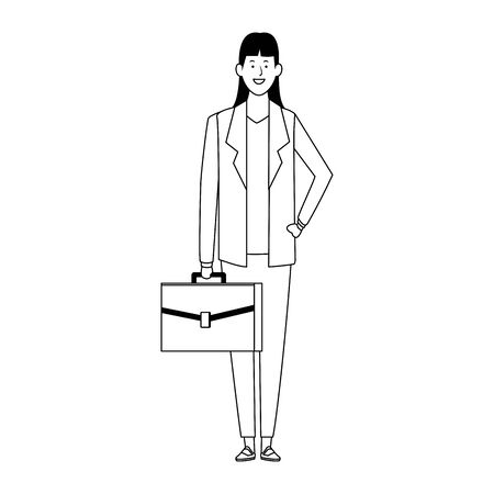 cartoon business woman standing over white background, vector illustration Illusztráció