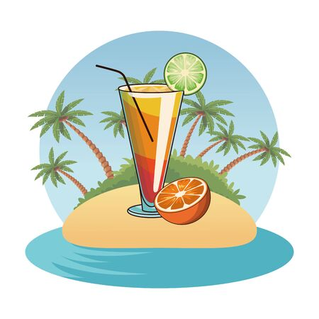 alcoholic drink beverage cocktail with delicious fruit cartoon vector illustration graphic design