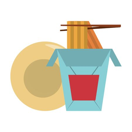restaurant food and cuisine chinese food with chopstick and plate icon cartoons vector illustration graphic design Illusztráció
