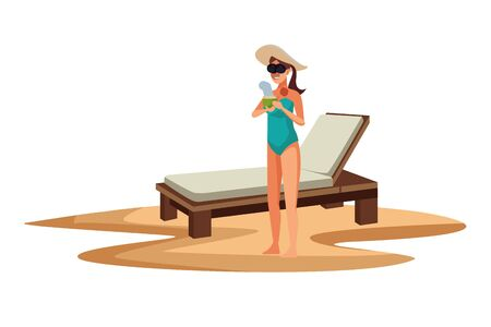 Young woman in summer time with sunchair at beach vector illustration graphic design