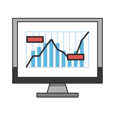 Online stock market investment computer with statistics graph symbols vector illustration