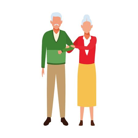 avatar old couple standing icon over white background, vector illustration 向量圖像