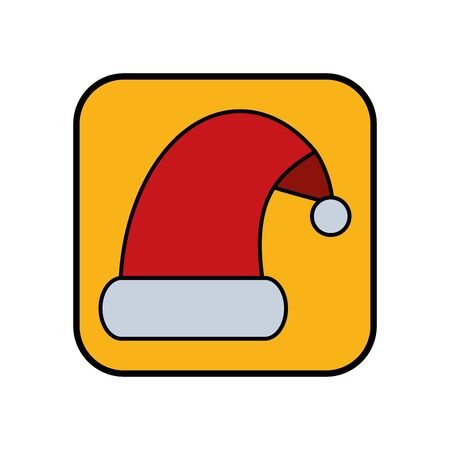 merry christmas santa claus hat icon vector illustration design