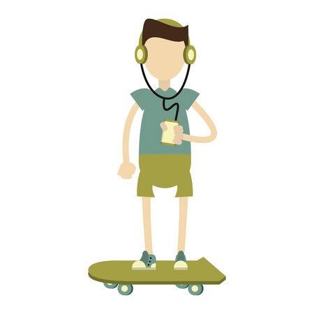 skater boy with music player isolated symbol Vector design illustration
