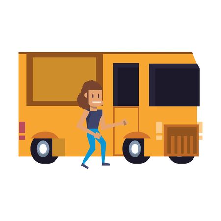 Retro videogame pixelated woman and van cartoons isolated vector illustration graphic design