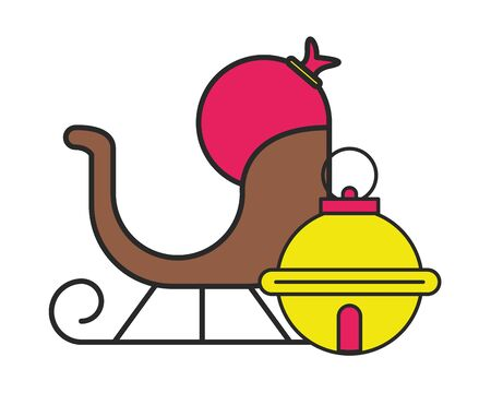 merry christmas sled carriage icon vector illustration design