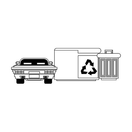 Videogame pixelated scenery car and trash cans vector illustration graphic design Ilustração