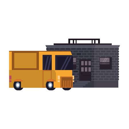 Retro videogame pixelated van and building cartoons isolated vector illustration graphic design Ilustrace