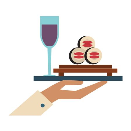 restaurant food and cuisine hand holding a sushi tray and glass with wine icon cartoons vector illustration graphic design Illusztráció
