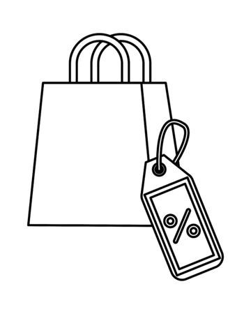 shopping bag and tag marketing icon vector illustration design Ilustracja