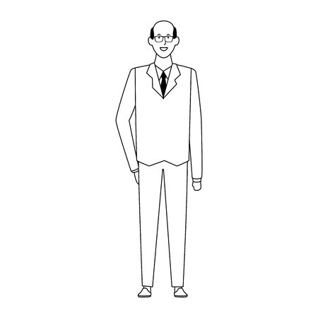 cartoon adult businessman icon over white background, vector illustration Ilustrace