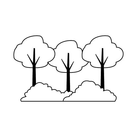 trees and bushes icon over white background, vector illustration