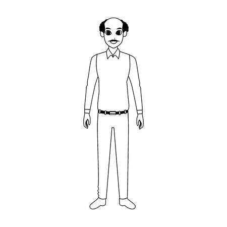 old man standing cartoon icon over white background, vector illustration