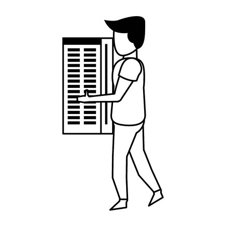 server tower network hardware with technology user cartoon vector illustration graphic design
