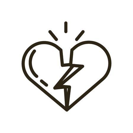 happy valentines day heart break vector illustration design