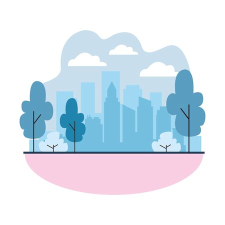 city landscape with trees and skyscrapers over white background, colorful design. vector illustration Illusztráció