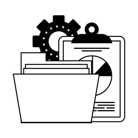 Office clipboard report and folder with gears symbols vector illustration graphic design Vetores