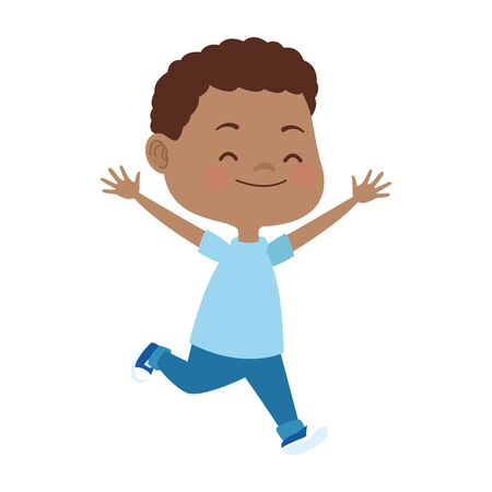 cartoon boy running icon over white background, vector illustration