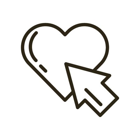 happy valentines day heart with arrow pointer vector illustration design
