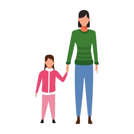 avatar woman and girl wearing jackets over white background, vector illustration