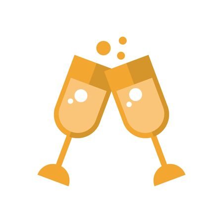 champagne cups toast isolated icon vector illustration design