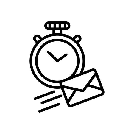 chronometer with envelope mail postal service vector illustration design