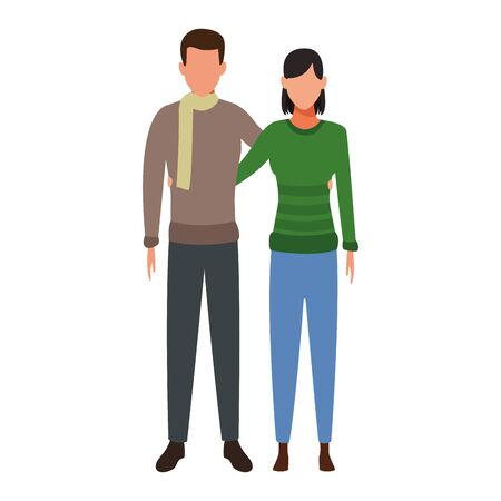 avatar couple wearing winter clothes over white background, vector illustration