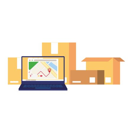 logistic and delivery shipping web online tracing with laptop cartoon vector illustration graphic design
