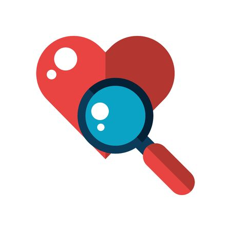 happy valentines day magnifying glass with heart vector illustration design
