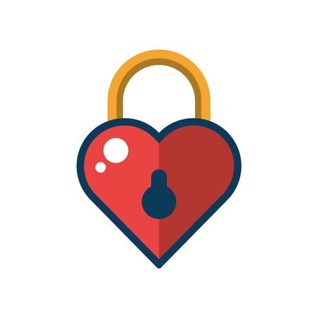 happy valentines day heart padlock vector illustration design
