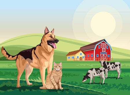 dog and cat with cows in the landscape scene vector illustration design