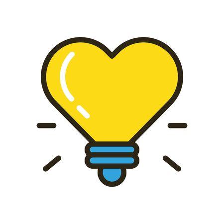 happy valentines day heart with bulb vector illustration design