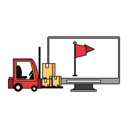 logistic and delivery shipping with forklift and merchandise cardboard boxes and web tracing cartoon vector illustration graphic design